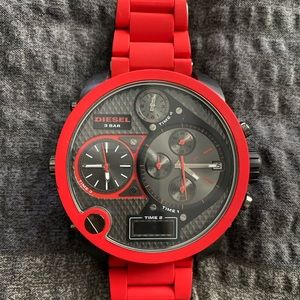 Diesel Mr. Daddy Red Silicone/Gunmetal Watch